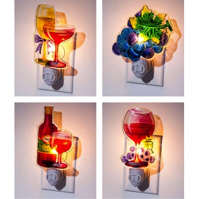 4 Piece Wine Night Light Set