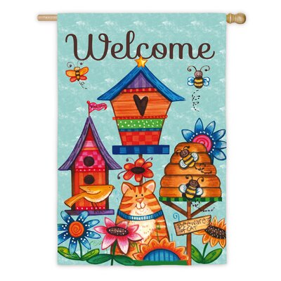 Welcome Birdhouse Cat Garden Flag 13S3611