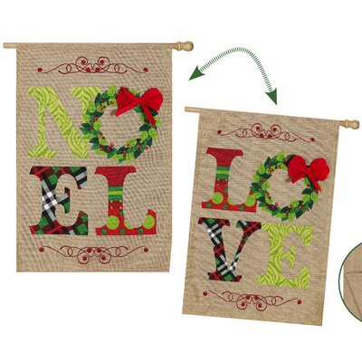 2 Piece Noel and Love Vertical Flag Set