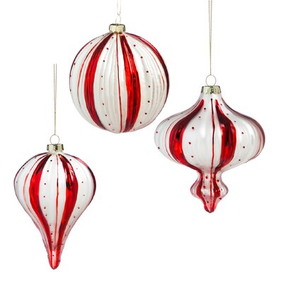 Candy Cane 3 Piece Striped Glass Ornament Set