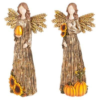 2 Piece Fall Harvest Angel Figurine Set THRE8076 31637914