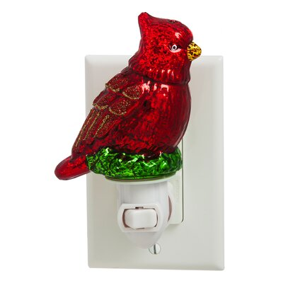 Cardinal Glass Nightlight with Switch Adapter