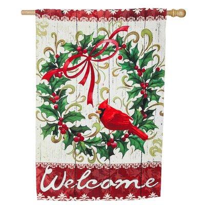 Cardinal Holly Wreath Suede Vertical Flag 13S3973