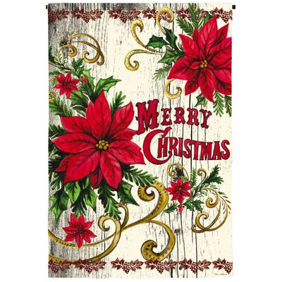 Poinsettia Merry Christmas Suede Garden Flag 14S3952