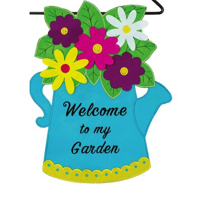 Blue Watering Can Garden Flag