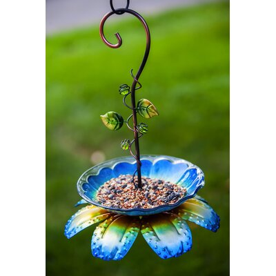 Floral Vine Decorative Tray Bird Feeder Color: Blue 2BF754