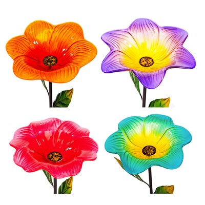 4 Piece Blooming Flower Stakes Decorative Bird Feeder Set 2BF749