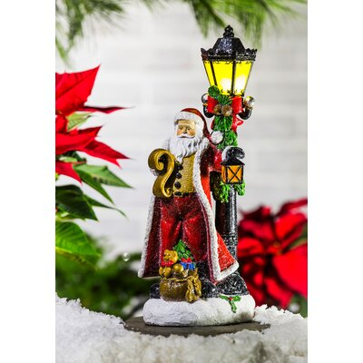 Illuminated Battery Powered Old World Santa with Lamp Post