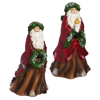 2 Piece Illuminated Battery Powered Santa Statue Set