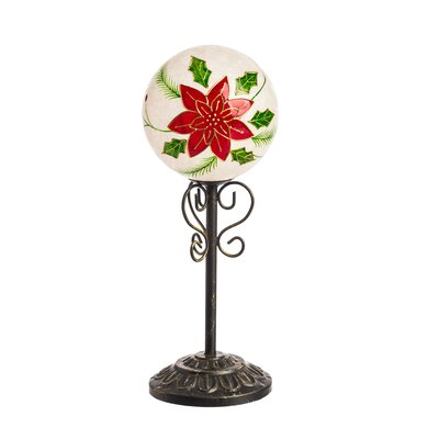 Glass PoinSettia LED Globe on Pedestal ALTH2738 42282020