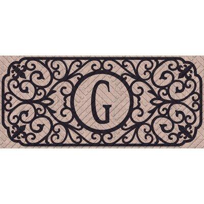 Atrakchi Filigree Monogram Embossed Sassafras Doormat Letter: G