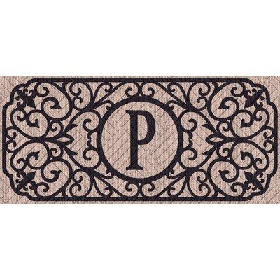 Atrakchi Filigree Monogram Embossed Sassafras Doormat Letter: P