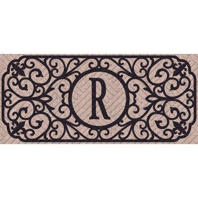Atrakchi Filigree Monogram Embossed Sassafras Doormat Letter: R
