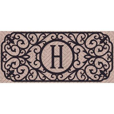 Atrakchi Filigree Monogram Embossed Sassafras Doormat Letter: H