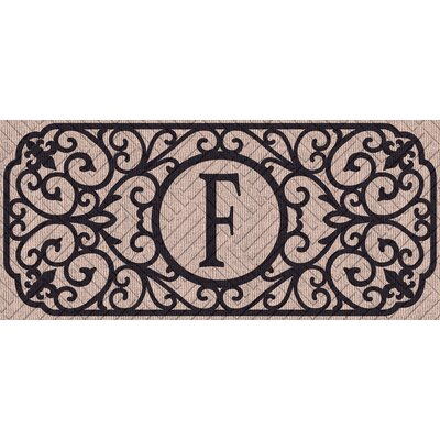 Atrakchi Filigree Monogram Embossed Sassafras Doormat Letter: F