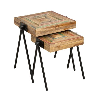 Rutland Recycled Teak 2 Piece Nesting Tables