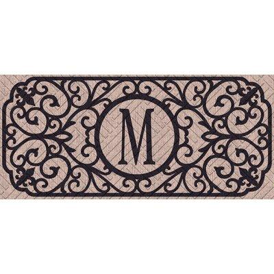Atrakchi Filigree Monogram Embossed Sassafras Doormat Letter: M