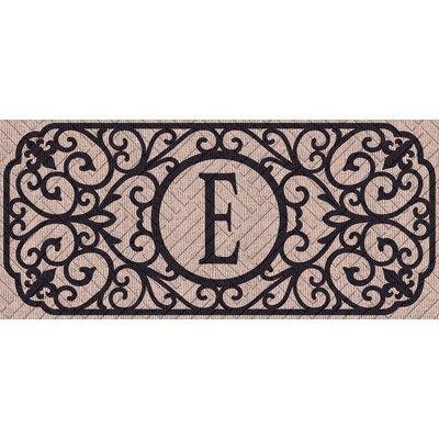 Atrakchi Filigree Monogram Embossed Sassafras Doormat Letter: E