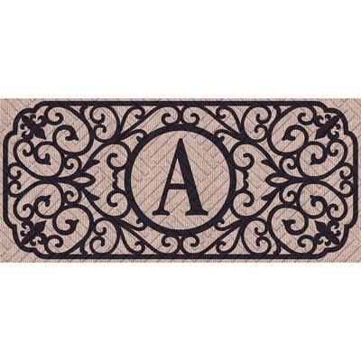 Atrakchi Filigree Monogram Embossed Sassafras Doormat Letter: A