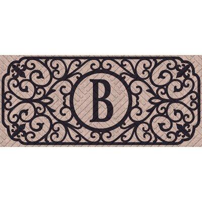 Atrakchi Filigree Monogram Embossed Sassafras Doormat Letter: B