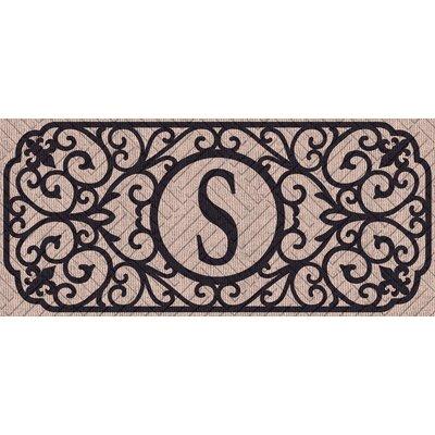 Atrakchi Filigree Monogram Embossed Sassafras Doormat Letter: S