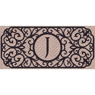 Atrakchi Filigree Monogram Embossed Sassafras Doormat Letter: J