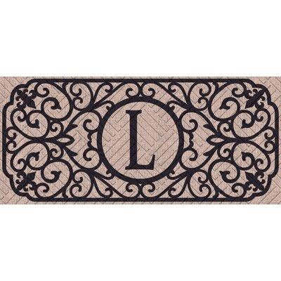 Atrakchi Filigree Monogram Embossed Sassafras Doormat Letter: L