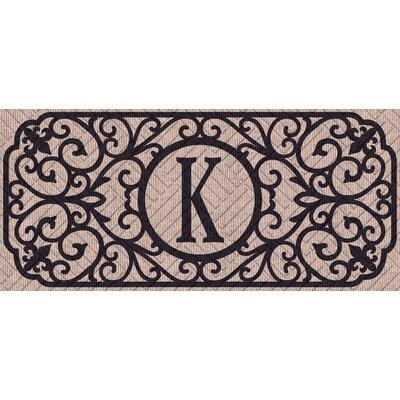 Atrakchi Filigree Monogram Embossed Sassafras Doormat Letter: K