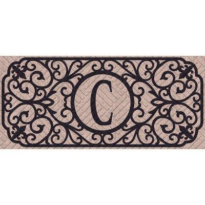 Atrakchi Filigree Monogram Embossed Sassafras Doormat Letter: C