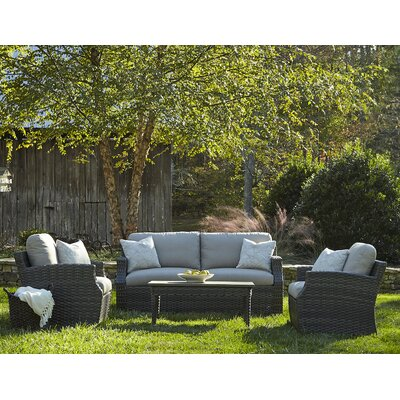 Cascade 4 Piece Deep Seating Group with Cushion Accent Pillow Fabric: Botanico Stone