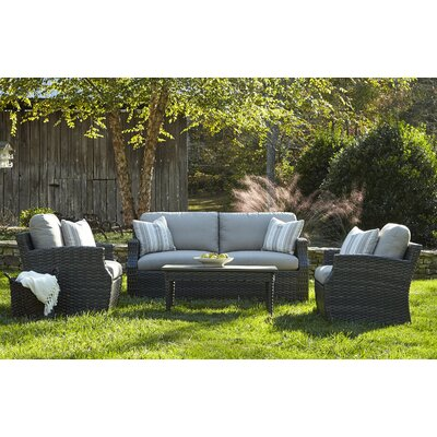 Cascade 4 Piece Deep Seating Group with Cushion Accent Pillow Fabric: Cutler Tan