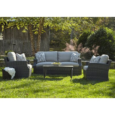 Cascade 4 Piece Deep Seating Group with Cushion Accent Pillow Fabric: Marin Desert