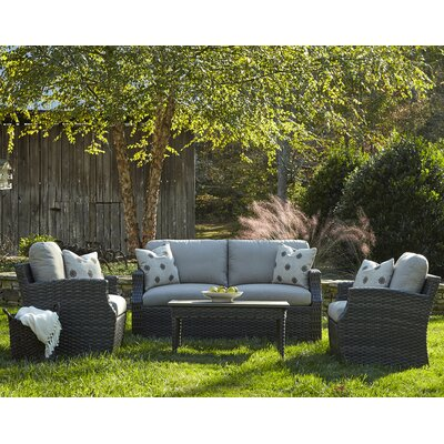 Cascade 4 Piece Deep Seating Group with Cushion Accent Pillow Fabric: Compass Dune