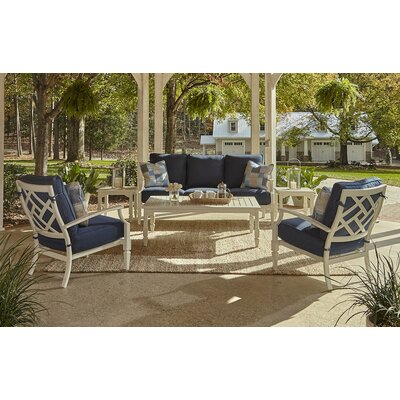 Mimosa 6 Piece Deep Seating Group with Cushion Accent Pillow Fabric: Bryce Ocean, Fabric: Demo Indigo