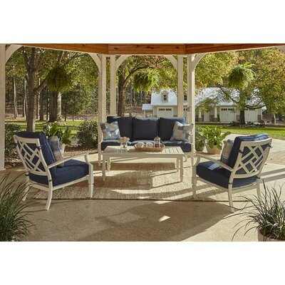 Mimosa 4 Piece Deep Seating Group with Cushion Accent Pillow Fabric: Bryce Ocean, Fabric: Demo Indigo
