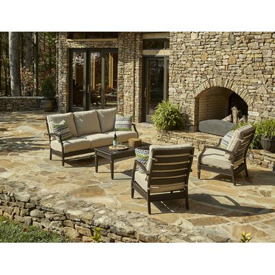 Cerissa 4 Piece Deep Seating Group with Cushion Accent Pillow Fabric: Miri Amazon