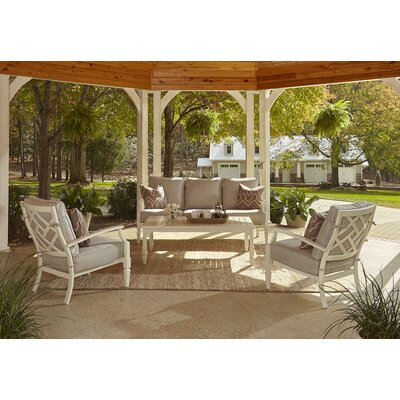 Mimosa 4 Piece Deep Seating Group with Cushion Fabric: Sahara Gravel, Accent Pillow Fabric: Webster Guava