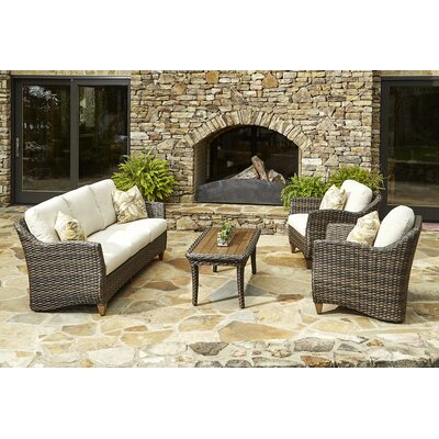 Sycamore 4 Piece Deep Seating Group with Cushion Accent Pillow Fabric: Tropical Breeze Sundance