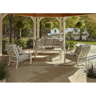 Mimosa 4 Piece Deep Seating Group with Cushion Accent Pillow Fabric: Bubbles Pizzazz, Fabric: Sahara Gravel