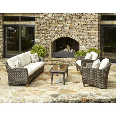 Sycamore 4 Piece Deep Seating Group with Cushion Accent Pillow Fabric: Marin Desert