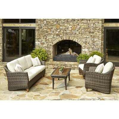 Sycamore 4 Piece Deep Seating Group with Cushion Accent Pillow Fabric: Cutler Tan