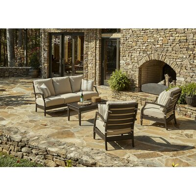 Cerissa 4 Piece Deep Seating Group with Cushion Accent Pillow Fabric: Cutler Tan