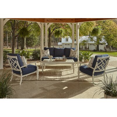 Mimosa 4 Piece Deep Seating Group with Cushion Accent Pillow Fabric: Compass Blue Sky, Fabric: Demo Indigo