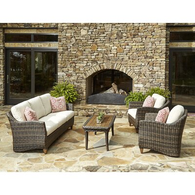 Sycamore 4 Piece Deep Seating Group with Cushion Accent Pillow Fabric: Avalon Garnet