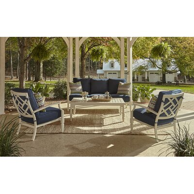 Mimosa 4 Piece Deep Seating Group with Cushion Fabric: Demo Indigo, Accent Pillow Fabric: Miri Amazon