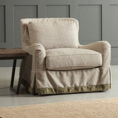 Arly Armchair Body Fabric: Zula Pumice/Belsire Gray, Leg Finish: Black Walnut