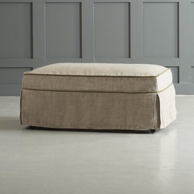 Bleeker Ottoman with Trim Body Fabric: Zula Linen/Belsire Moss