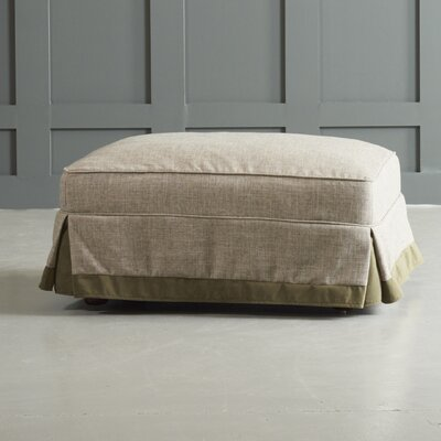 Arly Ottoman with Trim Leg Finish: Black Walnut, Body Fabric: Zula Linen/Belsire Buckwheat