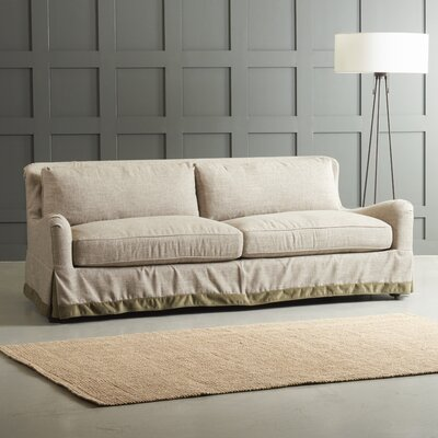 Arly Sofa with Trim Finish: Black Walnut, Upholstery: Zula Linen/Belsire Buckwheat