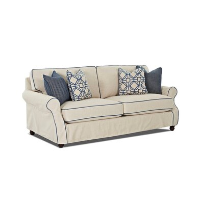 Box Cushion Loveseat Slipcover Upholstery: Young Parchment Cotton Blend